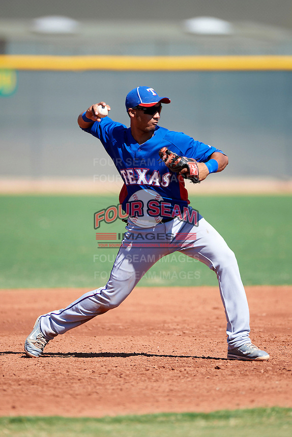 Texas Rangers minor league infielder Smerling Lantigua #9 during an instructional league game against the Kansas City Royals at the Surprise Stadium Minor League Complex on October 10, 2012 in Surprise, Arizona.  (Mike Janes/Four Seam Images)