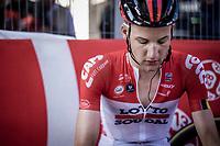 Tim Wellens (BEL/Lotto Soudal) exhausted after finishing. <br /> <br /> Binckbank Tour 2018 (UCI World Tour)<br /> Stage 7: Lac de l'eau d'heure (BE) - Geraardsbergen (BE) 212.7km