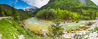 Panoramic photo of Soca River and Julian Alps, seen from the Soca Valley, Triglav National Park, Slovenia, Europe