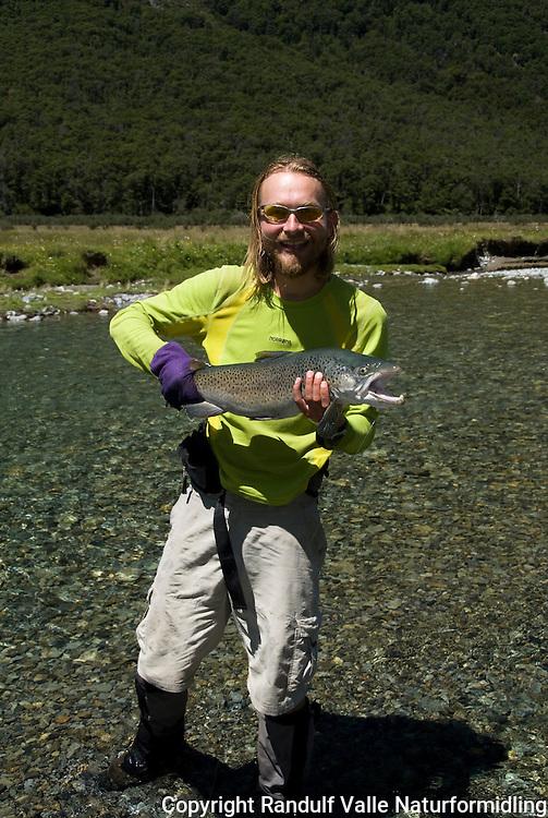 Mann med stor ørret, tatt på tørrflue. ---- Man with large trout, caugth on dry fly.