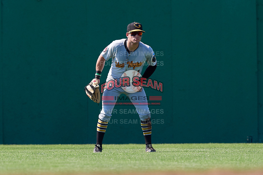 West Virginia Black Bears center fielder Travis Swaggerty (13) during a game against the Batavia Muckdogs on July 1, 2018 at Dwyer Stadium in Batavia, New York.  Batavia defeated West Virginia 8-4.  (Mike Janes/Four Seam Images)