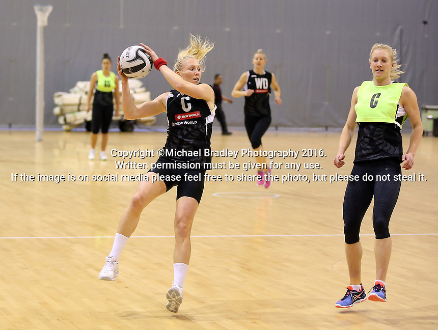 19.10.2016 Silver Ferns Laura Langman in action during the Silver Ferns Training in Invercargill. Mandatory Photo Credit ©Michael Bradley.