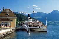 Schweiz, Kanton Luzern, Vitznau: Dampfschiff SCHILLER an der Schiffsanlegestelle | Switzerland, Canton Lucerne, Vitznau: steam boat SCHILLER