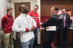 Wisconsin Badgers Head Coach Tony Granato shares a laugh with Super Bowl LI Champion and former Badger James White prior to an NCAA Big Ten Conference hockey game against the Michigan Wolverines Saturday, February 18, 2017, in Madison, Wisconsin. The Badgers won 6-4. (Photo by David Stluka)