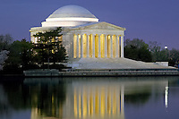 Jefferson Memorial illuminated before sunrise, Washington, DC