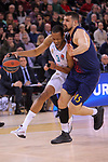 Turkish Airlines Euroleague 2017/2018.<br /> Regular Season - Round 23.<br /> FC Barcelona Lassa vs R. Madrid: 74-101.<br /> Anthony Randolph vs Adrien Moerman.