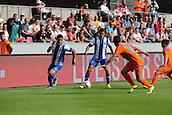 01.08.2015. Cologne, Germany. Pre Season Tournament. Colonia Cup. Valencia CF versus FC Porto.  Porto maintain a high level of pressure on the Valencia defence. Cristian Tello attacks down the wing as Maxi Pereira overlaps.