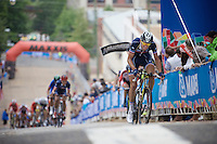 Kevin Ledanois (FRA/Bretagne-Séché Environnement) leads the last sprint up the cobbles of 23rd street in the last lap of the race<br /> <br /> U23 Road Race<br /> UCI Road World Championships Richmond 2015 / USA