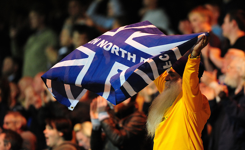 Preston North End fans celebrate the win over Notts County<br /> <br /> Photographer Chris Vaughan/CameraSport<br /> <br /> Football - The Football League Sky Bet League One - Notts County v Preston North End - Tuesday 21st April 2015 - Meadow Lane - Nottingham<br /> <br /> &copy; CameraSport - 43 Linden Ave. Countesthorpe. Leicester. England. LE8 5PG - Tel: +44 (0) 116 277 4147 - admin@camerasport.com - www.camerasport.com