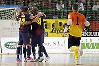 FC Barcelona Alusport's Wilde Gomes, Lin, Ari Santos, Aicardo and Cristian Dominguez celebrate goal during Spanish National Futsal League match.November 24,2012. (ALTERPHOTOS/Acero) /NortePhoto