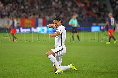 16.09.2016. Caen, France. French Leagie 1 football. Caen versus Paris St Germain.  Edinson Cavani (psg) celebrates his goal