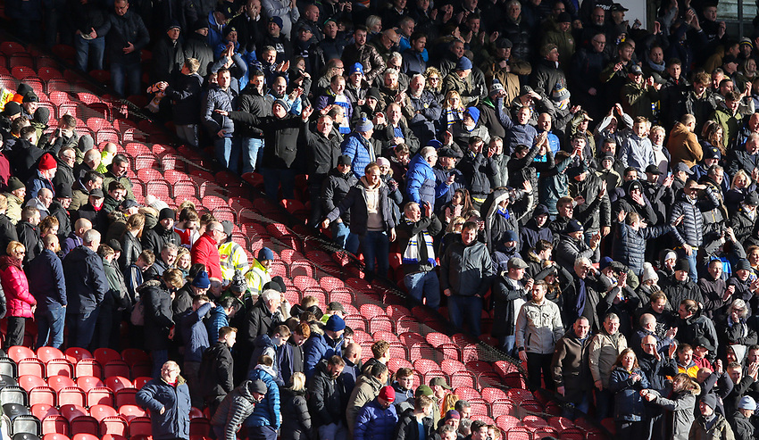 Leeds United fans taunt Middlesbrough fans after the match<br /> <br /> Photographer Alex Dodd/CameraSport<br /> <br /> The EFL Sky Bet Championship - Middlesbrough v Leeds United - Saturday 9th February 2019 - Riverside Stadium - Middlesbrough<br /> <br /> World Copyright © 2019 CameraSport. All rights reserved. 43 Linden Ave. Countesthorpe. Leicester. England. LE8 5PG - Tel: +44 (0) 116 277 4147 - admin@camerasport.com - www.camerasport.com