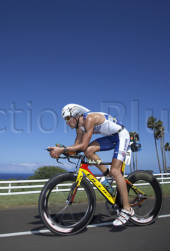 German triathlete Andreas Raelert cycles during the Ironman Triathlon World Championships in Kailua-Kona, Hawaii, USA. 10th October 2009. He became third and was the fastest German participant. Photo by Thomas Frey/ActionPlus. UK Licenses Only.