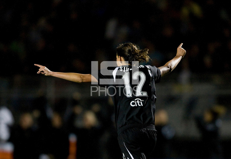 Christine Sinclair of Gold Pride celebrates after scoring a goal during the second half of the game against Sky Blue at Castro Valley High School in Castro Valley, California on April 17th, 2010.  FC Gold Pride defeated NY/NJ Sky Blue, 3-1.