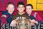 Winners: Christopher Breen, Donnacha Curtin and Luke O'Donnell receiving their Bord na nOg awards on Thursday night at the Duagh Heritage Centre where the young Duagh footballers were honoured..   Copyright Kerry's Eye 2008