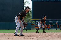 Pittsburgh Pirates third baseman Jung Ho Kang (15) and shortstop Ji-Hwan Bae (56) during a Florida Instructional League game against the Baltimore Orioles on September 22, 2018 at Ed Smith Stadium in Sarasota, Florida.  (Mike Janes/Four Seam Images)
