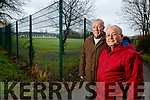 Jim Griffin and Tommy Collins of Save the Green at Tralee Town Park on Wednesday.