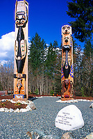 Nuu-chah-nulth Totem Poles on Tseshaht First Nation Reserve, near Port Alberni, Vancouver Island, BC, British Columbia, Canada
