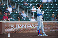 Surprise Saguaros designated hitter Cavan Biggio (26), of the Toronto Blue Jays organization, on deck during an Arizona Fall League game against the Mesa Solar Sox at Sloan Park on November 1, 2018 in Mesa, Arizona. Surprise defeated Mesa 5-4 . (Zachary Lucy/Four Seam Images)