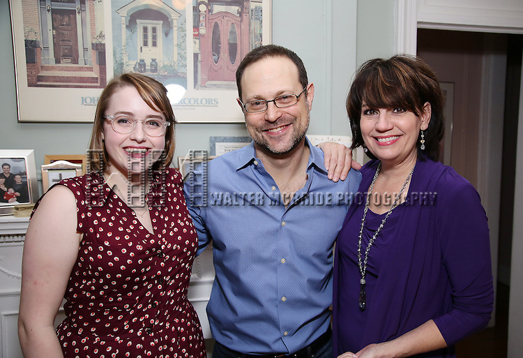 Caitlin Kinnunen, Matthew Sklar and Beth Leavel attends the Dramatists Guild Fund Salon with Matthew Sklar and Chad Beguelin at the home of Gretchen Cryer on December 8, 2016 in New York City.