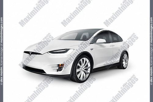 White 2017 Tesla Model X luxury SUV electric car isolated on white background with clipping path