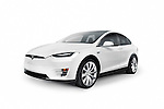 White 2017 Tesla Model X luxury SUV electric car isolated on white background with clipping path Image © MaximImages, License at https://www.maximimages.com