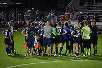 Kansas City, MO - Saturday May 07, 2016: FC Kansas City huddles after the game against the Houston Dash. the Houston Dash defeated FC Kansas City 2-1 during a regular season National Women's Soccer League (NWSL) match at Swope Soccer Village.