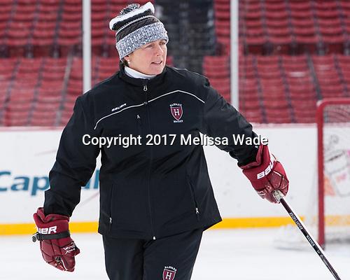 Katey Stone (Harvard - Head Coach) - The Harvard University Crimson practiced at Fenway on Monday, January 9, 2017, in Boston, Massachusetts.