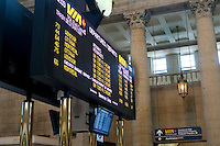 Electronic departures board is seen in Toronto Union Station April 20, 2010. Union Station is the major inter-city rail station and a major commuter rail hub in Toronto.