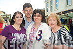 Enjoying the Gathering day of Puck Fair in Killorglin on Tuesday evening were Joanne Fleming, Sean Drislane, Marie Fleming and Geraldine Drislane.