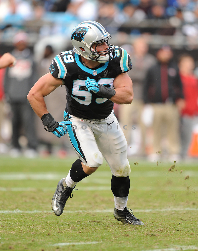 Carolina Panthers Luke Kuechly (59) in action during a game against the Buccaneers on November 18, 2012 at Bank of America Stadium in Charlotte, NC. The Buccaneers beat the Panthers 27-21 in overtime.