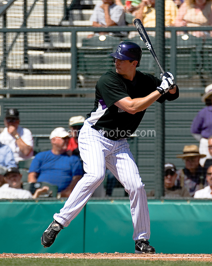 Mar 23, 2008; Tucson, AZ, USA; Colorado Rockies right fielder Brad Hawpe (11) waits for a pitch during a game against the Los Angeles Dodgers at Hi Corbett Field. The Rockies beat the Dodgers 8-2.