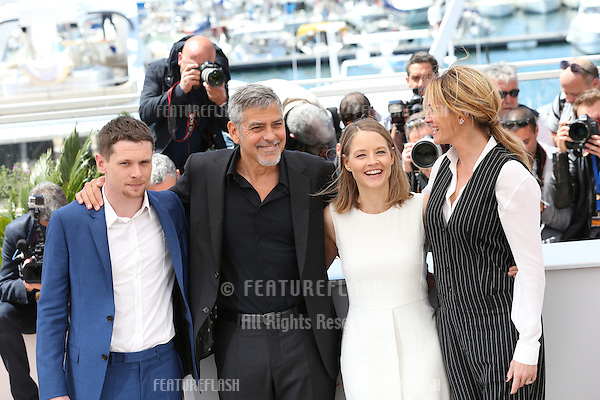 Jack O'Connell, George Clooney, Jodie Foster and Julia Roberts attend the 'Money Monster' Photocall at the annual 69th Cannes Film Festival at Palais des Festivals on May 12, 2016 in Cannes, France.<br /> Picture: Kristina Afanasyeva / Featureflash
