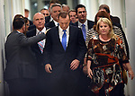 Tony Abbott, (C) Australia's prime minister, leaves the Liberal party room after loosing a leadership ballot in Canberra, Australia, on Monday, Sept. 14, 2015. Photographer: Mark Graham/Bloomberg *** Local Caption *** Tony Abbott