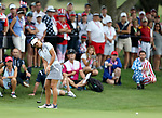 DES MOINES, IA - AUGUST 19: USA's Danielle Kang rolls an eagle putt on the 4th hole during Saturday morning's foursomes match at the 2017 Solheim Cup in Des Moines, IA. (Photo by Dave Eggen/Inertia)