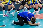 24.02.2019, SAP Arena, Mannheim<br /> Volleyball, DVV-Pokal Finale, SSC Palmberg Schwerin vs. Allianz MTV Stuttgart<br /> <br /> Jubel nach Matchball / Sieg<br /> Felix Koslowski (Trainer / Coach Schwerin)<br /> <br />   Foto © nordphoto / Kurth