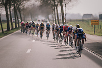 Yves Lampaert (BEL/Quick Step Floors) looking back to find the peloton in echelons after the final ascent of the Kemmelberg<br /> <br /> 81st Gent-Wevelgem in Flanders Fields (1.UWT)<br /> Deinze &gt; Wevelgem (251km)