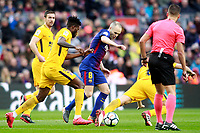 FC Barcelona's Andres Iniesta (r) and Atletico de Madrid's Thomas Partey during La Liga match. March 4,2018. (ALTERPHOTOS/Acero) /NortePhoto.com NORTEPHOTOMEXICO