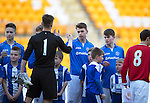 St Johnstone Academy v Manchester United Academy....17.04.15   <br /> The saints team lines up before kick off, Joe Johnson shakes hands with Oliver Byrne<br /> Picture by Graeme Hart.<br /> Copyright Perthshire Picture Agency<br /> Tel: 01738 623350  Mobile: 07990 594431