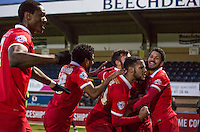 Celebrations following Calaum Jahraldo-Martin of Leyton Orient goal making it 2-0 during the Sky Bet League 2 match between Wycombe Wanderers and Leyton Orient at Adams Park, High Wycombe, England on 23 January 2016. Photo by Massimo Martino / PRiME Media Images.