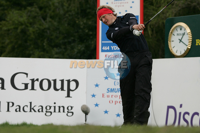 Pelle Edberg tees off on his final hole the 9th during the 2nd round of the Smurfit Kappa European Open at The K Club, Starffan,Co.Kildare, Ireland 5th July 2007 (Photo by Eoin Clarke/NEWSFILE)