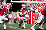 Wisconsin Badgers quarterback Alex Hornibrook (12) drops back to pass during an NCAA Big Ten Conference football game against the Maryland Terrapins Saturday, October 21, 2017, in Madison, Wis. The Badgers won 38-13. (Photo by David Stluka)