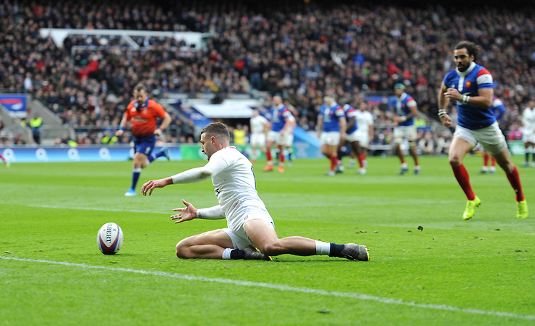 Jonny May of England touches down during the Guinness Six Nations match between England and France at Twickenham Stadium on Sunday 10th February 2019 (Photo by Rob Munro/Stewart Communications)