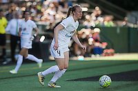 Seattle, WA - Sunday, May 1, 2016: FC Kansas City defender Becky Sauerbrunn (4) looks to pass the ball during the first half of a National Women's Soccer League (NWSL) match at Memorial Stadium. Seattle won 1-0.