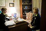 March 17, 2009. Raleigh, NC.. Images from one day in the life of Deborah K. Ross, Representative for North Carolina House District 38.. 9:13 AM. Ross meets with Pam Seamans, of the NC Alliance for Health, to talk about the upcoming bill to ban smoking in public spaces, including bars and restaurants.