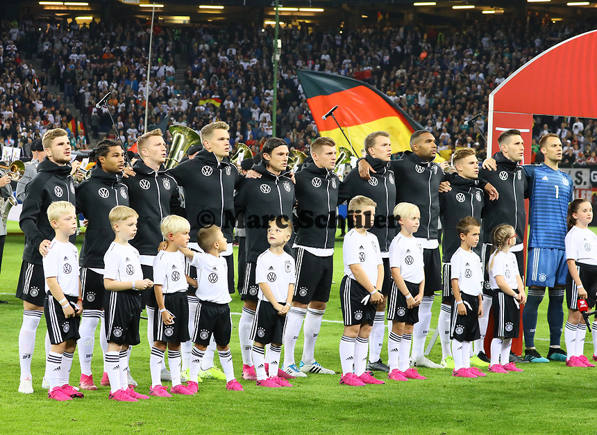 Timo Werner (Deutschland Germany), Serge Gnabry (Deutschland Germany), Marco Reus (Deutschland, Germany), Matthias Ginter (Deutschland Germany), Nico Schulz (Deutschland Germany), Toni Kroos (Deutschland Germany), Lukas Klostermann (Deutschland Germany), Jonathan Tah (Deutschland Germany), Joshua Kimmich (Deutschland Germany), Niklas Süle (Deutschland Germany), Torwart Manuel Neuer (Deutschland Germany) - 06.09.2019: Deutschland vs. Niederlande, Volksparkstadion Hamburg, EM-Qualifikation DISCLAIMER: DFB regulations prohibit any use of photographs as image sequences and/or quasi-video.