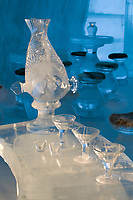 Glasses made out of ice. Aurora Ice Museum, Chena Hot Springs, Alaska. A 30 ft. high gothic style ice structure built from ice and snow by World Ice Sculpting champion Steve Brice.