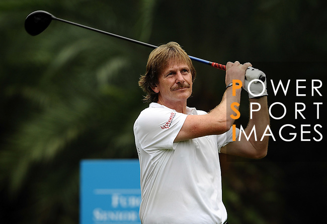 TAIPEI, TAIWAN - NOVEMBER 18:  George Ryall of England tees off on the 14th hole during day one of the Fubon Senior Open at Miramar Golf & Country Club on November 18, 2011 in Taipei, Taiwan.  Photo by Victor Fraile / The Power of Sport Images