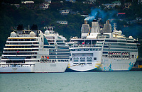 Seabourn Encore and Explorer Dream cruise liners. CentrePort in Wellington, New Zealand on Friday, 3 January 2020. Photo: Dave Lintott / lintottphoto.co.nz