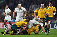 Jonny May of England is tackled to ground. Rugby World Cup Pool A match between England and Australia on October 3, 2015 at Twickenham Stadium in London, England. Photo by: Patrick Khachfe / Onside Images